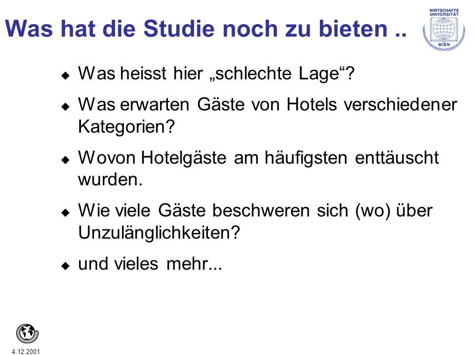 4.12.2001 Was hat die Studie noch zu bieten.. u Was heisst hier schlechte Lage? u Was erwarten Gäste von Hotels verschiedener Kategorien? u Wovon Hote