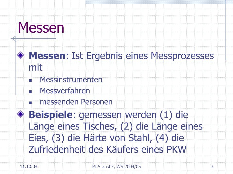 11.10.04PI Statistik, WS 2004/054 Qualität von Messungen Kriterien für die Qualität von Messungen Genauigkeit (accuracy): bezieht sich auf einzelnen Messvorgang systematischer Fehler (Bias) Präzision, Variabilität Reproduzierbarkeit: bezieht sich auf Messsystem Stabilität: zeitlicher Aspekt des Messsystems