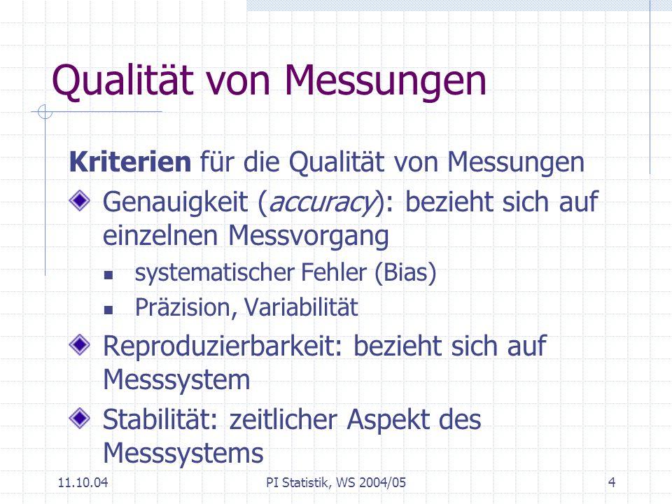11.10.04PI Statistik, WS 2004/055 Prozesse: Messen - Variabilität Beobachten (Messen) ist zentrales Element für Qualität von Produktions- und Dienstleistungsprozessen Prozessvariabilität Messvariabilität Beispiele: Qualität des Kaffees Wartezeit im Call-Center