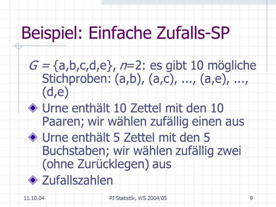 11.10.04PI Statistik, WS 2004/0510 Zufallszahlen In Büchern; z.B.