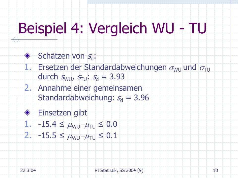 22.3.04PI Statistik, SS 2004 (9)10 Beispiel 4: Vergleich WU - TU Schätzen von s d : 1. Ersetzen der Standardabweichungen WU und TU durch s WU, s TU :