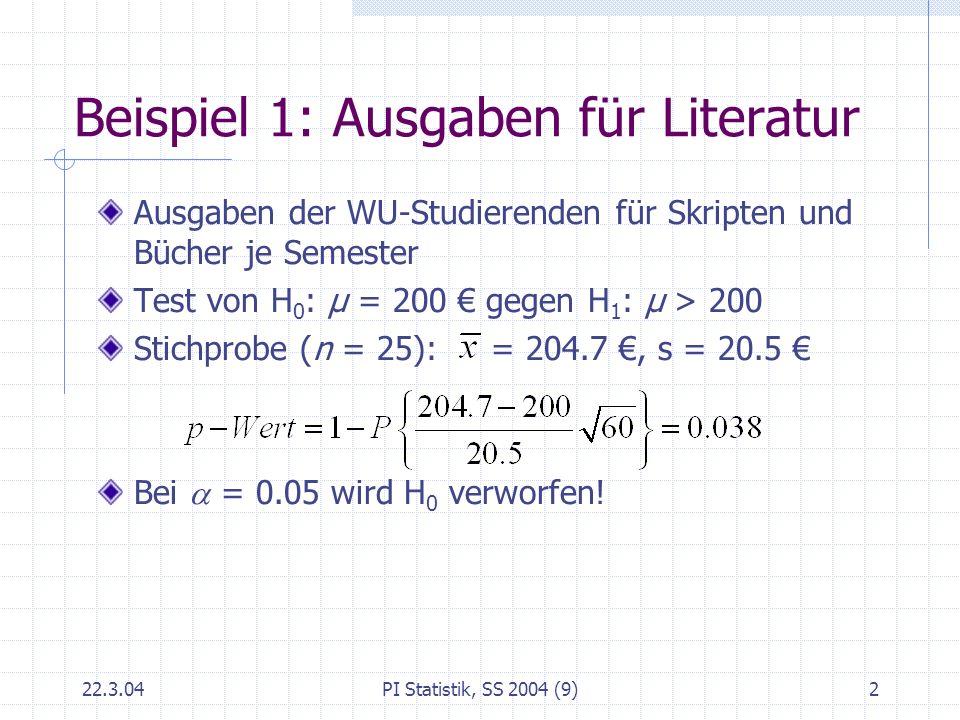 22.3.04PI Statistik, SS 2004 (9)3 Wahl des Stichprobenumfanges Breite c (maximaler Schätzfehler) des Konfidenzintervalls für μ (bei gegebenem ) ist bestimmt von Konfidenzzahl Stichprobenumfang n Beispiel 1: Wieviele Studierende müssen befragt werden, damit das 95%ige Konfidenzintervall die Länge von höchstens 10 hat.