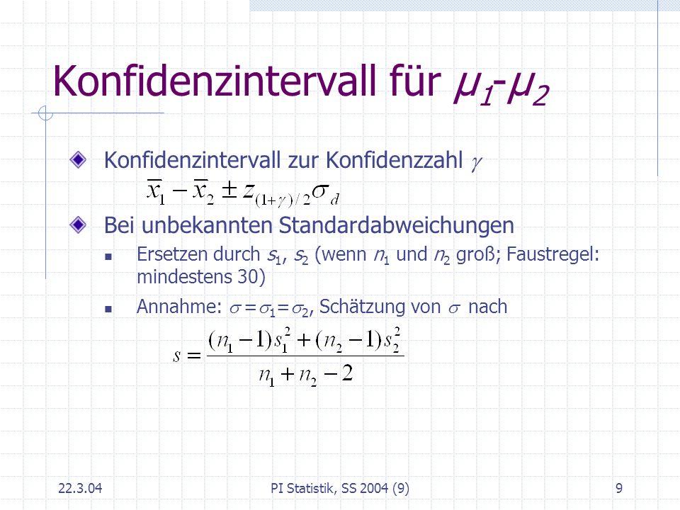 22.3.04PI Statistik, SS 2004 (9)9 Konfidenzintervall für μ 1 -μ 2 Konfidenzintervall zur Konfidenzzahl Bei unbekannten Standardabweichungen Ersetzen d