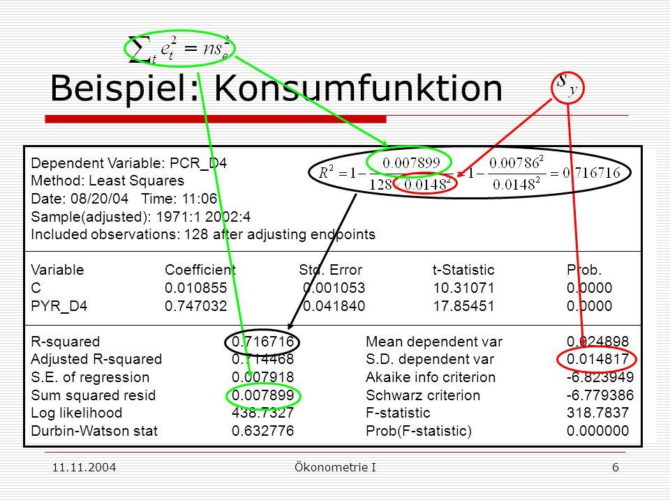 11.11.2004Ökonometrie I17 Konfidenzintervall für i KI zur Konfidenzzahl mit Perzentil der t(n-k) oder Normalverteilung Beispiel: Konsumfunktion C = + Y + u 95%iges Konfidenzintervall für marginale Konsumneigung 0.747 – (1.979) (0.0418) 0.747 + (1.979) (0.0418) oder 0.664 0.830