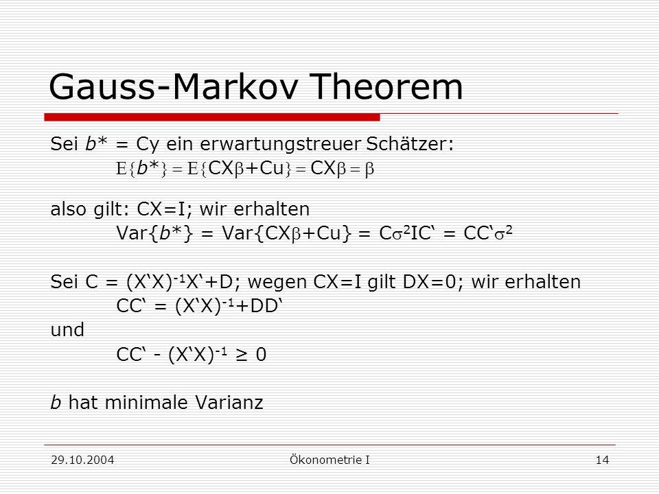 29.10.2004Ökonometrie I14 Gauss-Markov Theorem Sei b* = Cy ein erwartungstreuer Schätzer: b*CX+CuCX also gilt: CX=I; wir erhalten Var{b*} = Var{CX+Cu}
