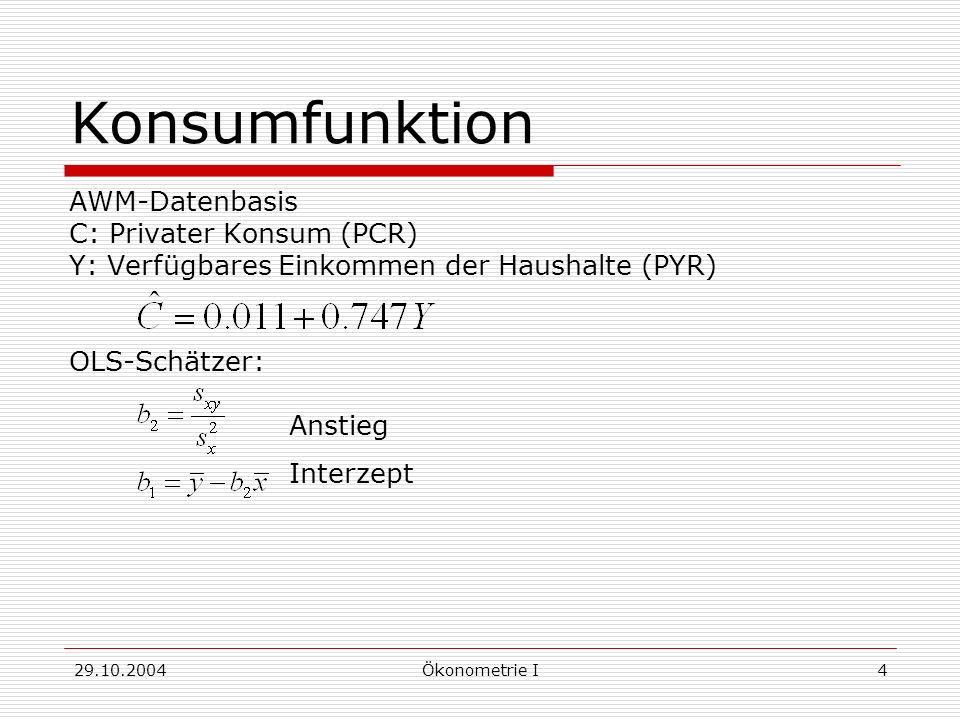 29.10.2004Ökonometrie I5 OLS-Schätzer Einfache Regression: Y t = 1 + 2 X t + u t Anstieg Interzept Multiple Regression: Y t = x t + u t b = (XX) -1 Xy
