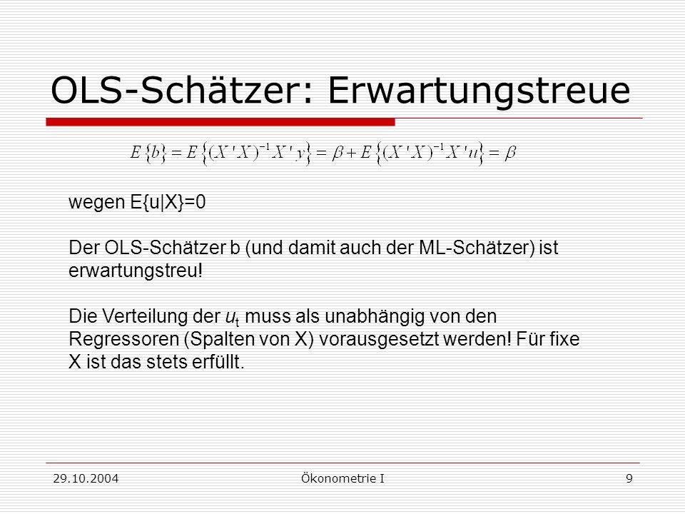 29.10.2004Ökonometrie I9 OLS-Schätzer: Erwartungstreue wegen E{u X}=0 Der OLS-Schätzer b (und damit auch der ML-Schätzer) ist erwartungstreu! Die Vert