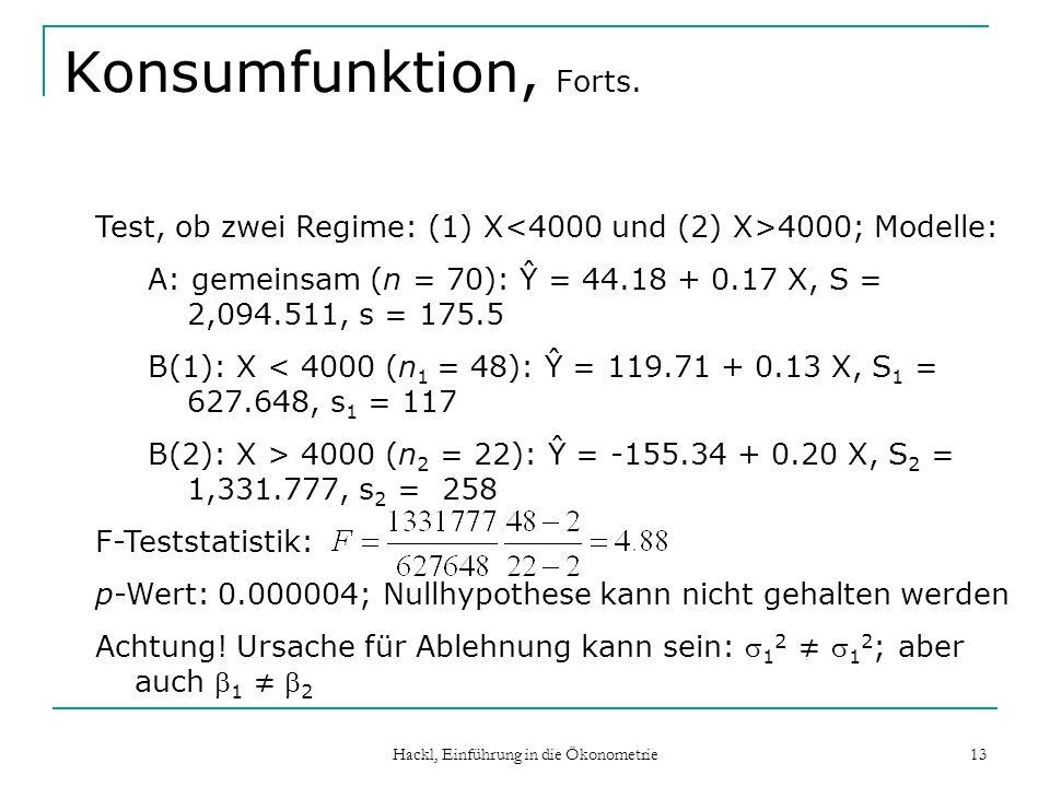 Hackl, Einführung in die Ökonometrie 13 Konsumfunktion, Forts. Test, ob zwei Regime: (1) X 4000; Modelle: A: gemeinsam (n = 70): Ŷ = 44.18 + 0.17 X, S