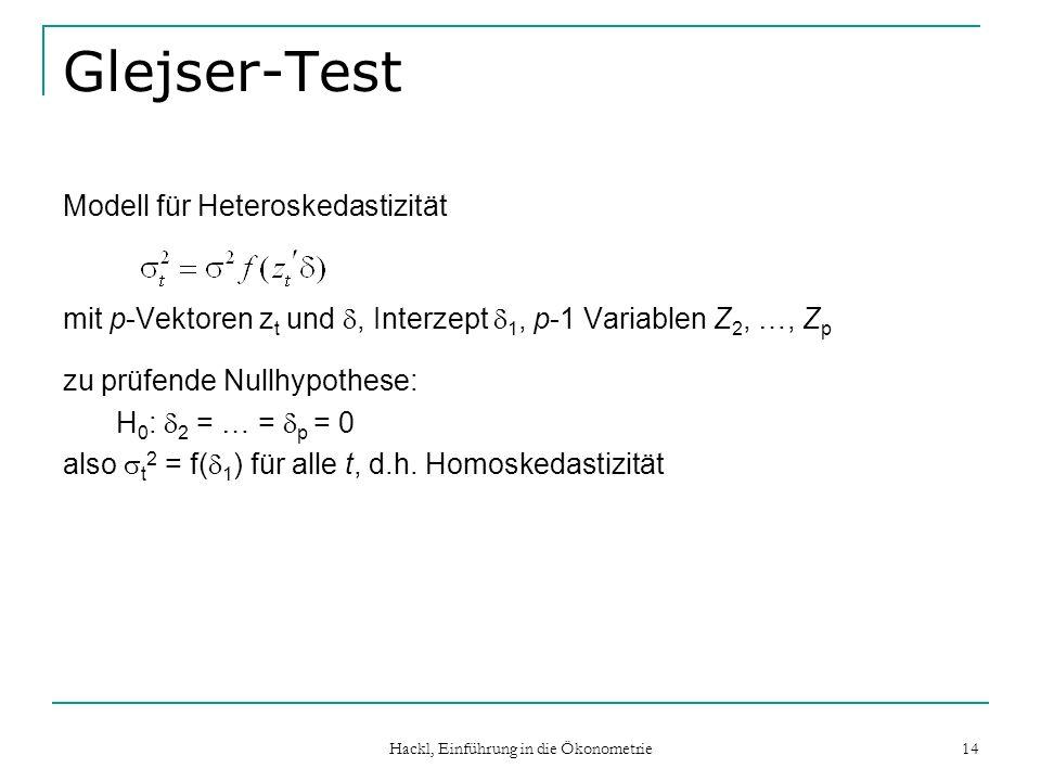 Hackl, Einführung in die Ökonometrie 14 Glejser-Test Modell für Heteroskedastizität mit p-Vektoren z t und, Interzept 1, p-1 Variablen Z 2, …, Z p zu