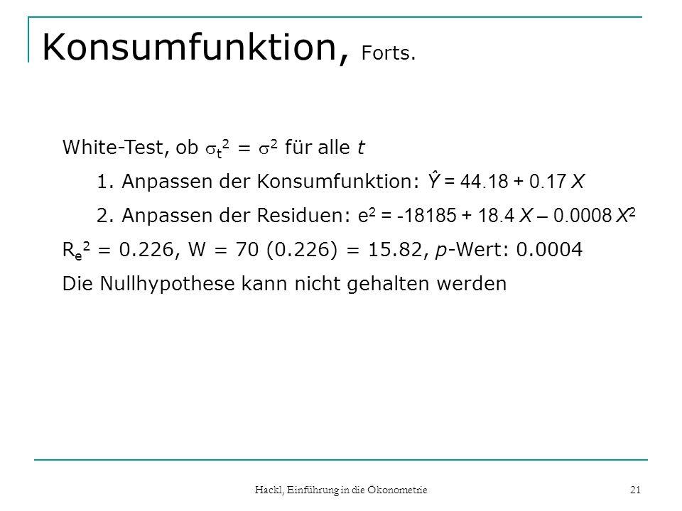 Hackl, Einführung in die Ökonometrie 21 Konsumfunktion, Forts. White-Test, ob t 2 = 2 für alle t 1.Anpassen der Konsumfunktion: Ŷ = 44.18 + 0.17 X 2.A