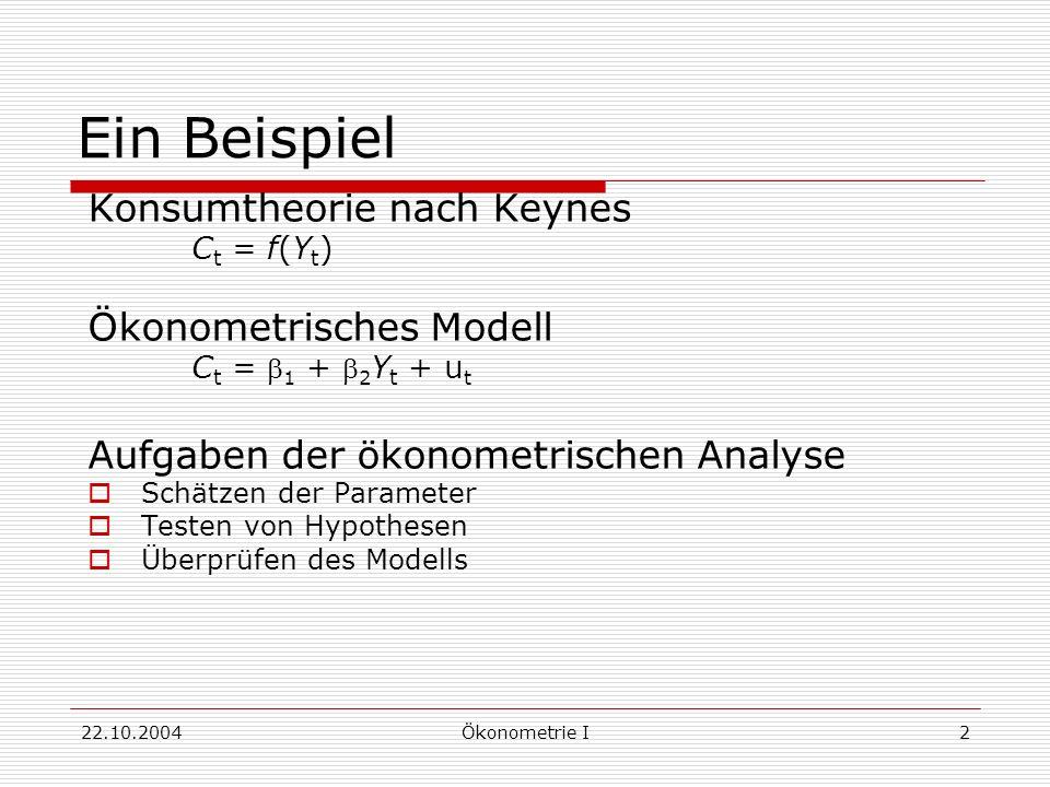 22.10.2004Ökonometrie I2 Ein Beispiel Konsumtheorie nach Keynes C t = f(Y t ) Ökonometrisches Modell C t = 1 + 2 Y t + u t Aufgaben der ökonometrische