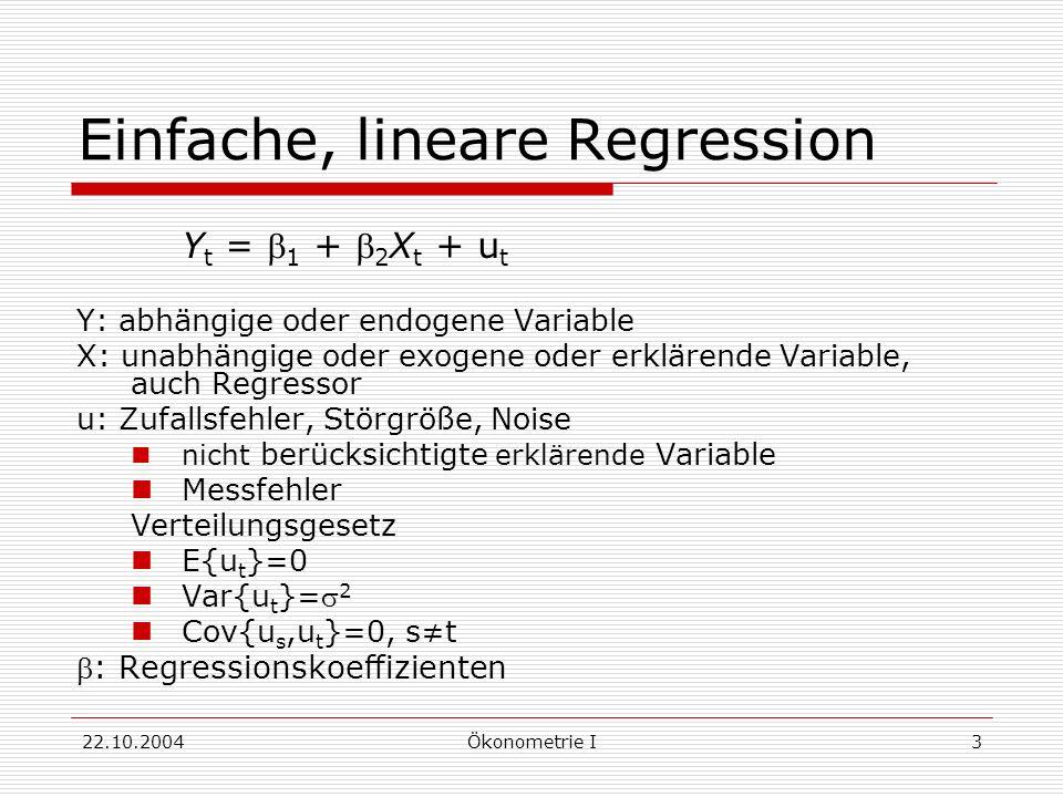 22.10.2004Ökonometrie I3 Einfache, lineare Regression Y t = 1 + 2 X t + u t Y: abhängige oder endogene Variable X: unabhängige oder exogene oder erklä