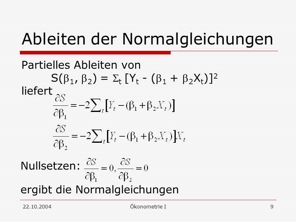 22.10.2004Ökonometrie I9 Ableiten der Normalgleichungen Partielles Ableiten von S( 1, 2 ) = t [Y t - ( 1 + 2 X t )] 2 liefert Nullsetzen: ergibt die N