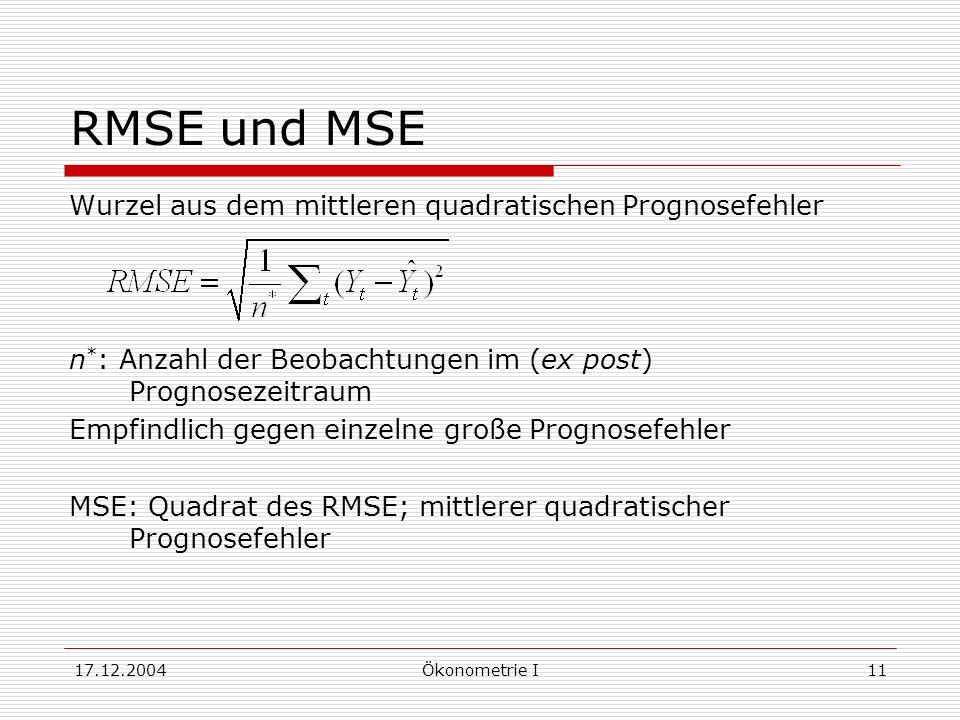 17.12.2004Ökonometrie I11 RMSE und MSE Wurzel aus dem mittleren quadratischen Prognosefehler n * : Anzahl der Beobachtungen im (ex post) Prognosezeitr