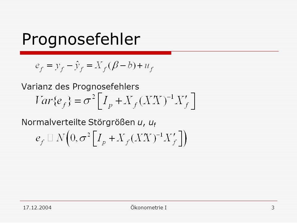17.12.2004Ökonometrie I3 Prognosefehler Varianz des Prognosefehlers Normalverteilte Störgrößen u, u f