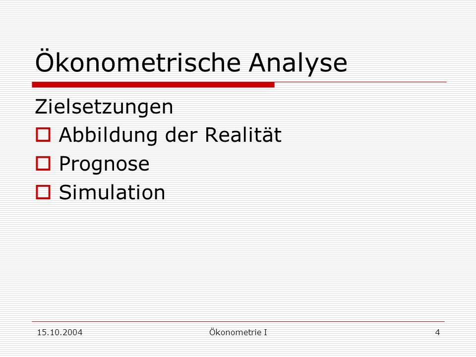 15.10.2004Ökonometrie I4 Ökonometrische Analyse Zielsetzungen Abbildung der Realität Prognose Simulation