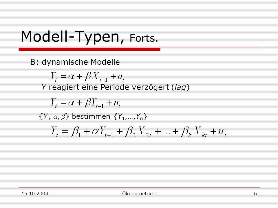 15.10.2004Ökonometrie I6 Modell-Typen, Forts.