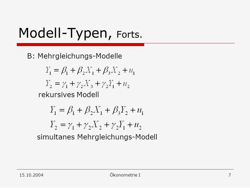 15.10.2004Ökonometrie I7 Modell-Typen, Forts.