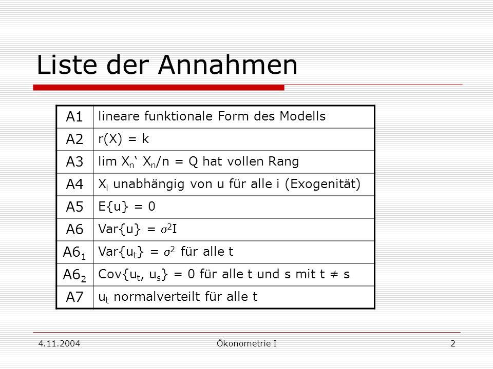 4.11.2004Ökonometrie I2 Liste der Annahmen A1 lineare funktionale Form des Modells A2 r(X) = k A3 lim X n X n /n = Q hat vollen Rang A4 X i unabhängig