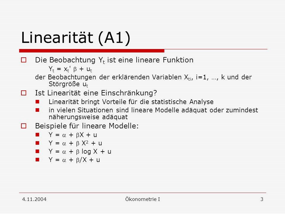4.11.2004Ökonometrie I4 Linearisieren Cobb-Douglas-Produktionsfunktion Y = K L e u Logarithmieren ergibt lineares Modell log Y = * + log K + log L + u Log-lineare Form log Y = 1 + 2 log X 2 + … + k log X k + u liefert konstante Elastizitäten (relative Änderung von Y bei einer relativen Änderung von X um eine Einheit):