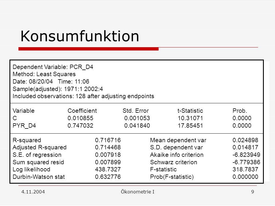 4.11.2004Ökonometrie I9 Konsumfunktion Dependent Variable: PCR_D4 Method: Least Squares Date: 08/20/04 Time: 11:06 Sample(adjusted): 1971:1 2002:4 Inc
