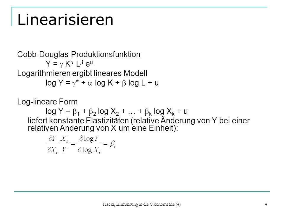Hackl, Einführung in die Ökonometrie (4) 5 Regressoren (A2, A3, A4) Voller Rang von X Spalten sind linear unabhängig Spalten sind nicht hoch korreliert Reguläre Matrix Q = lim X nX n /n Das durchschnittliche Quadrat der beobachteten Werte der X i bleibt endlich Meist problemlos Bei Trends zu streng Exogenität: jede Beobachtung ist unabhängig von aktuellen, vergangenen und künftigen Störgrößen