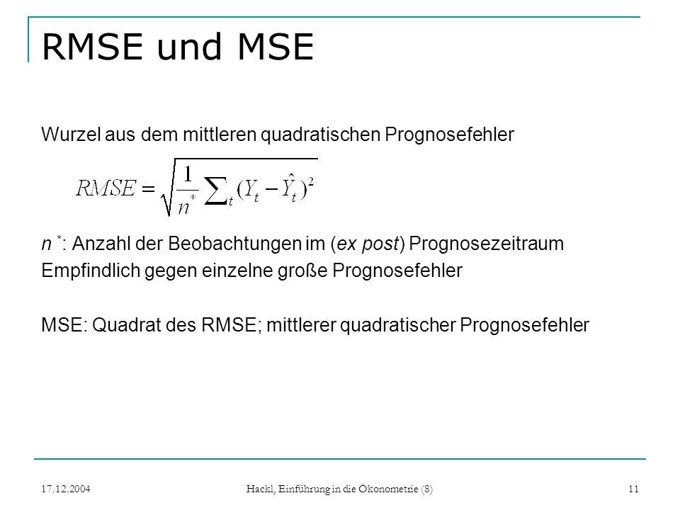 17.12.2004 Hackl, Einführung in die Ökonometrie (8) 11 RMSE und MSE Wurzel aus dem mittleren quadratischen Prognosefehler n * : Anzahl der Beobachtung