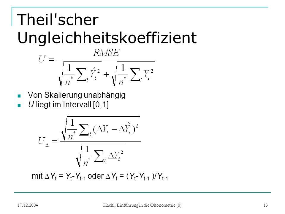 17.12.2004 Hackl, Einführung in die Ökonometrie (8) 13 Theil'scher Ungleichheitskoeffizient Von Skalierung unabhängig U liegt im Intervall [0,1] mit Y