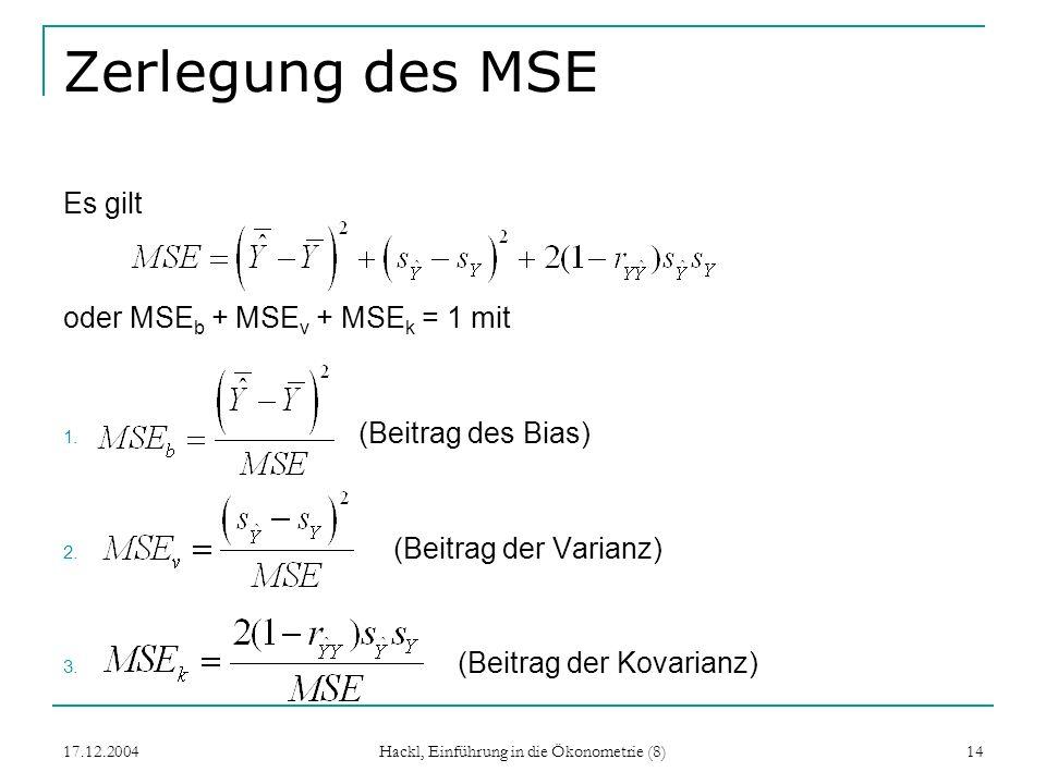 17.12.2004 Hackl, Einführung in die Ökonometrie (8) 14 Zerlegung des MSE Es gilt oder MSE b + MSE v + MSE k = 1 mit 1. (Beitrag des Bias) 2. (Beitrag