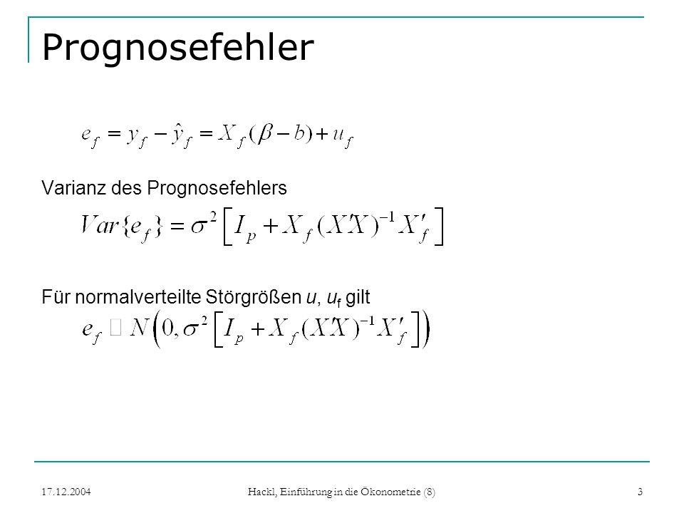 17.12.2004 Hackl, Einführung in die Ökonometrie (8) 4 Prognoseintervall 100 %-ige Prognoseintervalle (i = 1,…,p) f (i): Standardabweichung des Prognosefehlers, i-tes Diagonalelement von Var {e f } Bei unbekanntem 2 s f (i) wie f (i) mit s 2 anstelle von 2