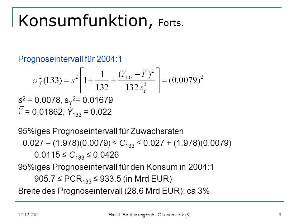 17.12.2004 Hackl, Einführung in die Ökonometrie (8) 9 Konsumfunktion, Forts. Prognoseintervall für 2004:1 s 2 = 0.0078, s Y 2 = 0.01679 = 0.01862, Ŷ 1