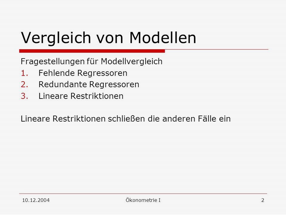 10.12.2004Ökonometrie I2 Vergleich von Modellen Fragestellungen für Modellvergleich 1.Fehlende Regressoren 2.Redundante Regressoren 3.Lineare Restriktionen Lineare Restriktionen schließen die anderen Fälle ein