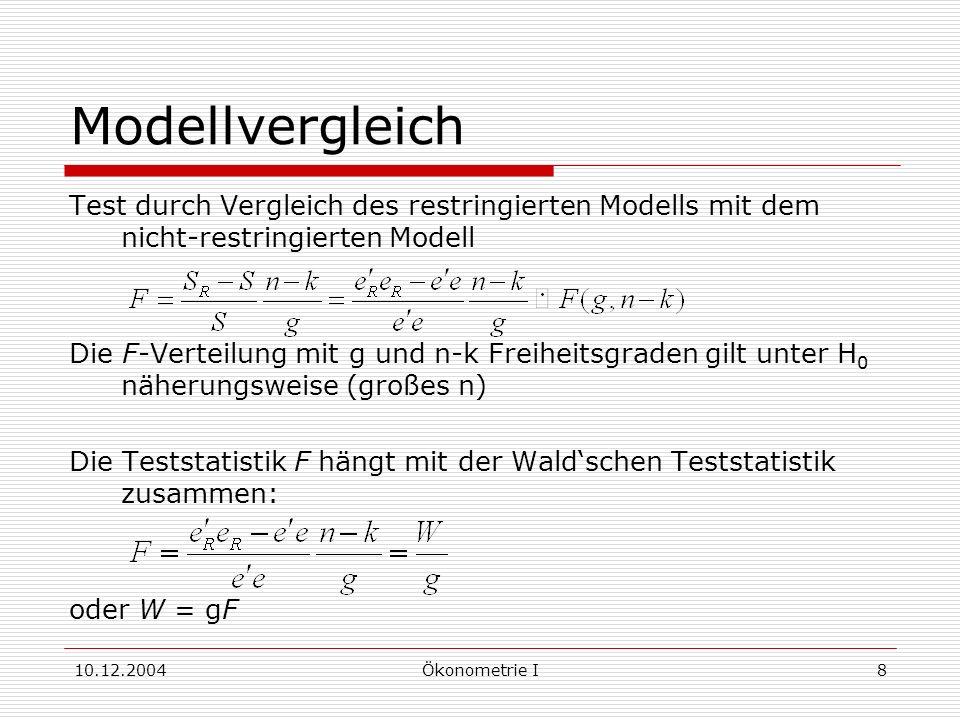 10.12.2004Ökonometrie I8 Modellvergleich Test durch Vergleich des restringierten Modells mit dem nicht-restringierten Modell Die F-Verteilung mit g und n-k Freiheitsgraden gilt unter H 0 näherungsweise (großes n) Die Teststatistik F hängt mit der Waldschen Teststatistik zusammen: oder W = gF