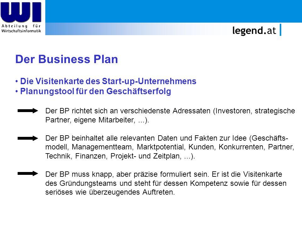 legend.at Der Business Plan Die Visitenkarte des Start-up-Unternehmens Planungstool für den Geschäftserfolg Der BP richtet sich an verschiedenste Adressaten (Investoren, strategische Partner, eigene Mitarbeiter,...).