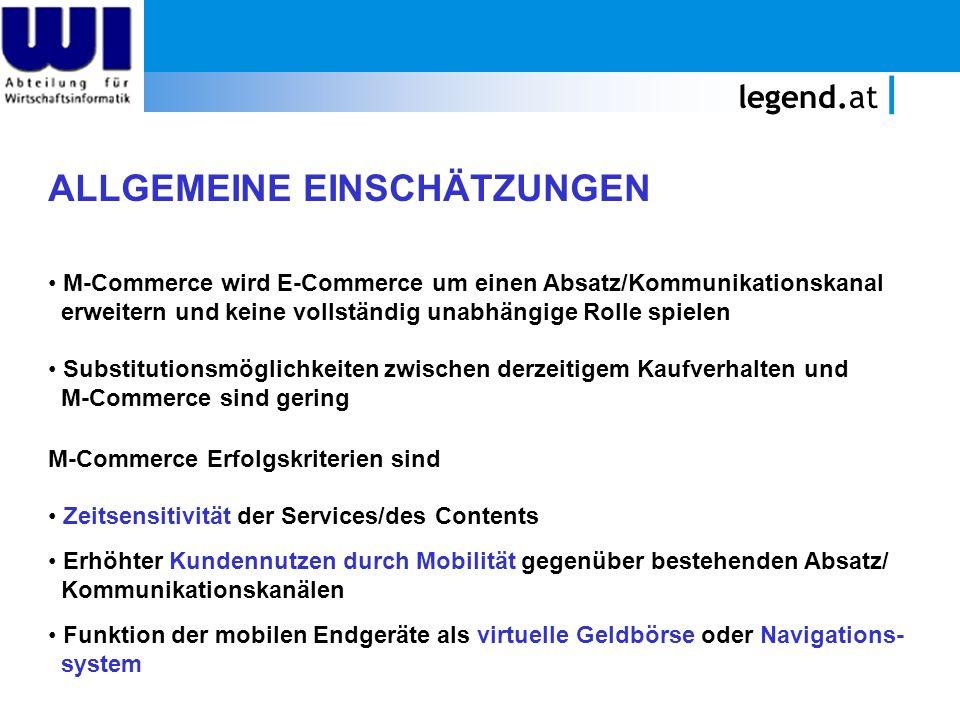 legend.at ALLGEMEINE EINSCHÄTZUNGEN M-Commerce wird E-Commerce um einen Absatz/Kommunikationskanal erweitern und keine vollständig unabhängige Rolle s