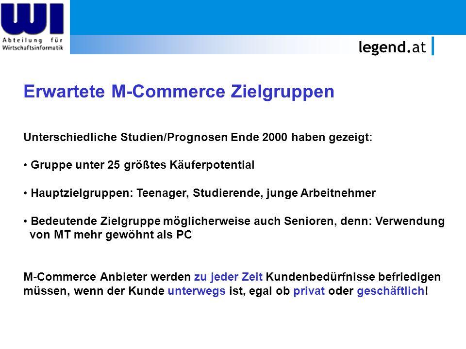legend.at Erwartete M-Commerce Zielgruppen Unterschiedliche Studien/Prognosen Ende 2000 haben gezeigt: Gruppe unter 25 größtes Käuferpotential Hauptzi