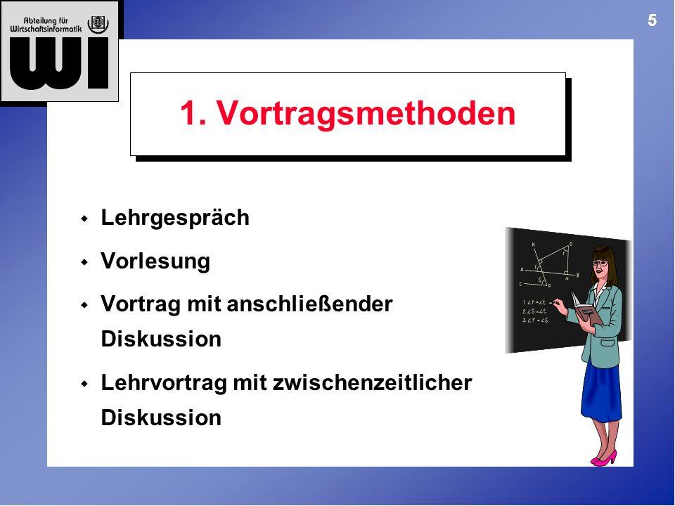 5 1. Vortragsmethoden Lehrgespräch Vorlesung Vortrag mit anschließender Diskussion Lehrvortrag mit zwischenzeitlicher Diskussion