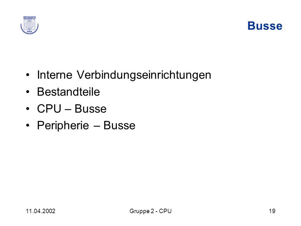 11.04.2002Gruppe 2 - CPU19 Busse Interne Verbindungseinrichtungen Bestandteile CPU – Busse Peripherie – Busse