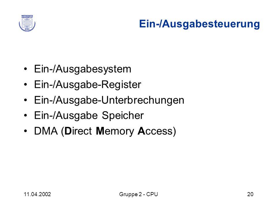 11.04.2002Gruppe 2 - CPU20 Ein-/Ausgabesteuerung Ein-/Ausgabesystem Ein-/Ausgabe-Register Ein-/Ausgabe-Unterbrechungen Ein-/Ausgabe Speicher DMA (Dire