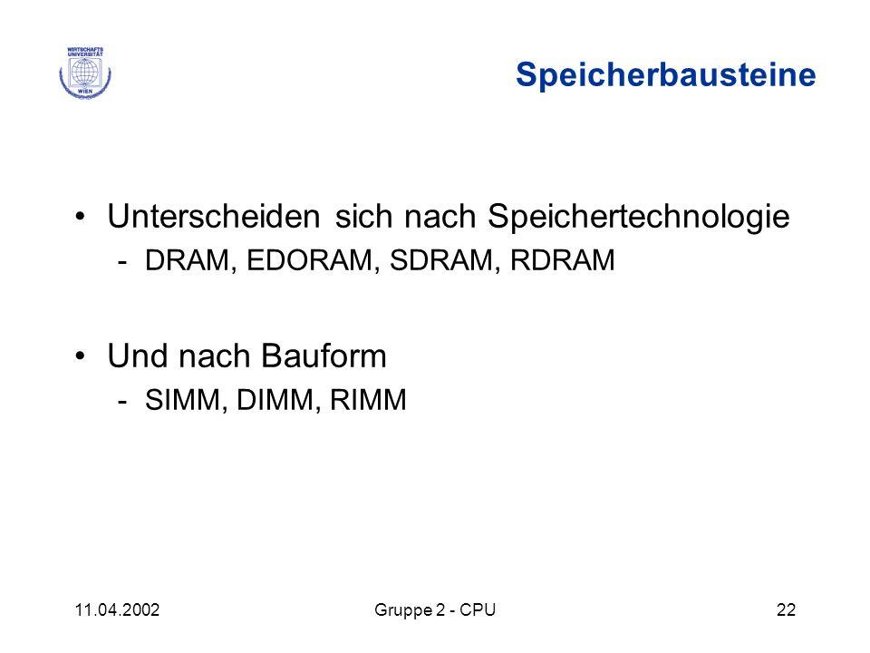 11.04.2002Gruppe 2 - CPU22 Speicherbausteine Unterscheiden sich nach Speichertechnologie -DRAM, EDORAM, SDRAM, RDRAM Und nach Bauform -SIMM, DIMM, RIM
