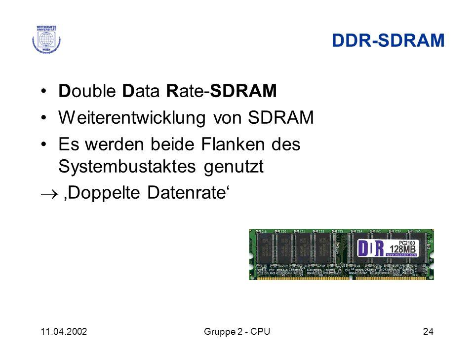 11.04.2002Gruppe 2 - CPU24 DDR-SDRAM Double Data Rate-SDRAM Weiterentwicklung von SDRAM Es werden beide Flanken des Systembustaktes genutzt Doppelte D