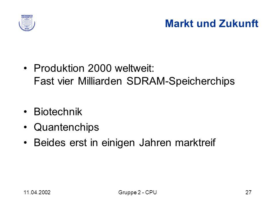 11.04.2002Gruppe 2 - CPU27 Markt und Zukunft Produktion 2000 weltweit: Fast vier Milliarden SDRAM-Speicherchips Biotechnik Quantenchips Beides erst in
