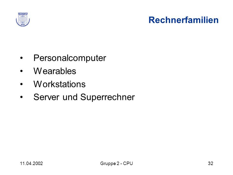 11.04.2002Gruppe 2 - CPU32 Rechnerfamilien Personalcomputer Wearables Workstations Server und Superrechner