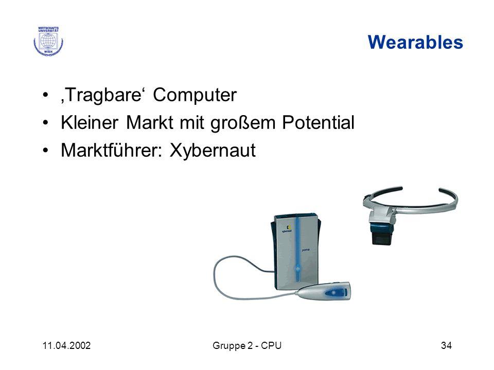11.04.2002Gruppe 2 - CPU34 Wearables Tragbare Computer Kleiner Markt mit großem Potential Marktführer: Xybernaut