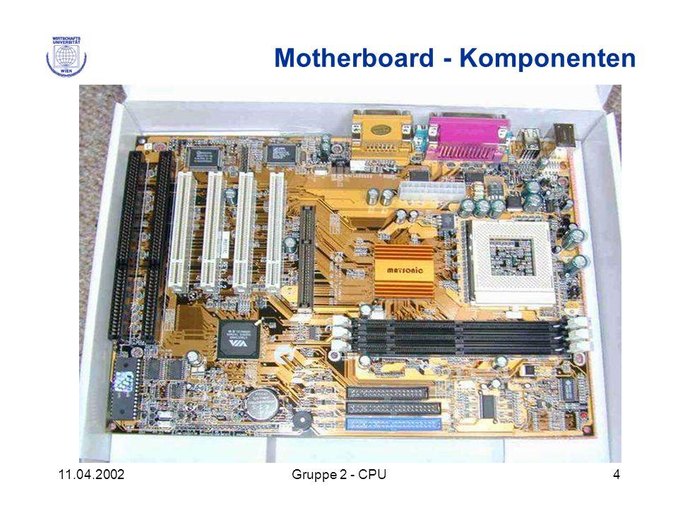 11.04.2002Gruppe 2 - CPU4 Motherboard - Komponenten