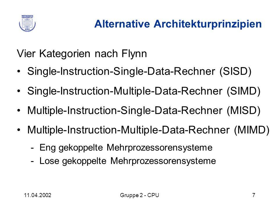 11.04.2002Gruppe 2 - CPU7 Alternative Architekturprinzipien Vier Kategorien nach Flynn Single-Instruction-Single-Data-Rechner (SISD) Single-Instructio