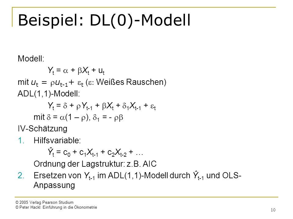 © 2005 Verlag Pearson Studium © Peter Hackl: Einführung in die Ökonometrie 10 Beispiel: DL(0)-Modell Modell: Y t = + X t + u t mit u t = u t-1 + t ( Weißes Rauschen) ADL(1,1)-Modell: Y t = + Y t-1 + X t + 1 X t-1 + t mit = (1 – ), 1 = - IV-Schätzung 1.Hilfsvariable: Ŷ t = c 0 + c 1 X t-1 + c 2 X t-2 + … Ordnung der Lagstruktur: z.B.