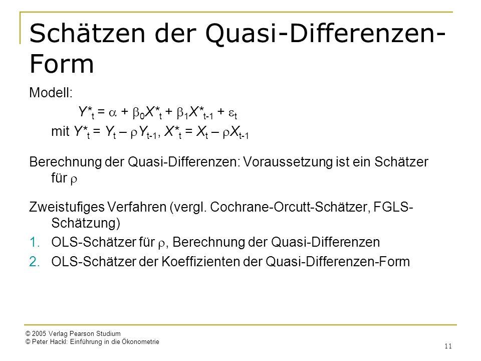 © 2005 Verlag Pearson Studium © Peter Hackl: Einführung in die Ökonometrie 11 Schätzen der Quasi-Differenzen- Form Modell: Y* t = + 0 X* t + 1 X* t-1 + t mit Y* t = Y t – Y t-1, X* t = X t – X t-1 Berechnung der Quasi-Differenzen: Voraussetzung ist ein Schätzer für Zweistufiges Verfahren (vergl.
