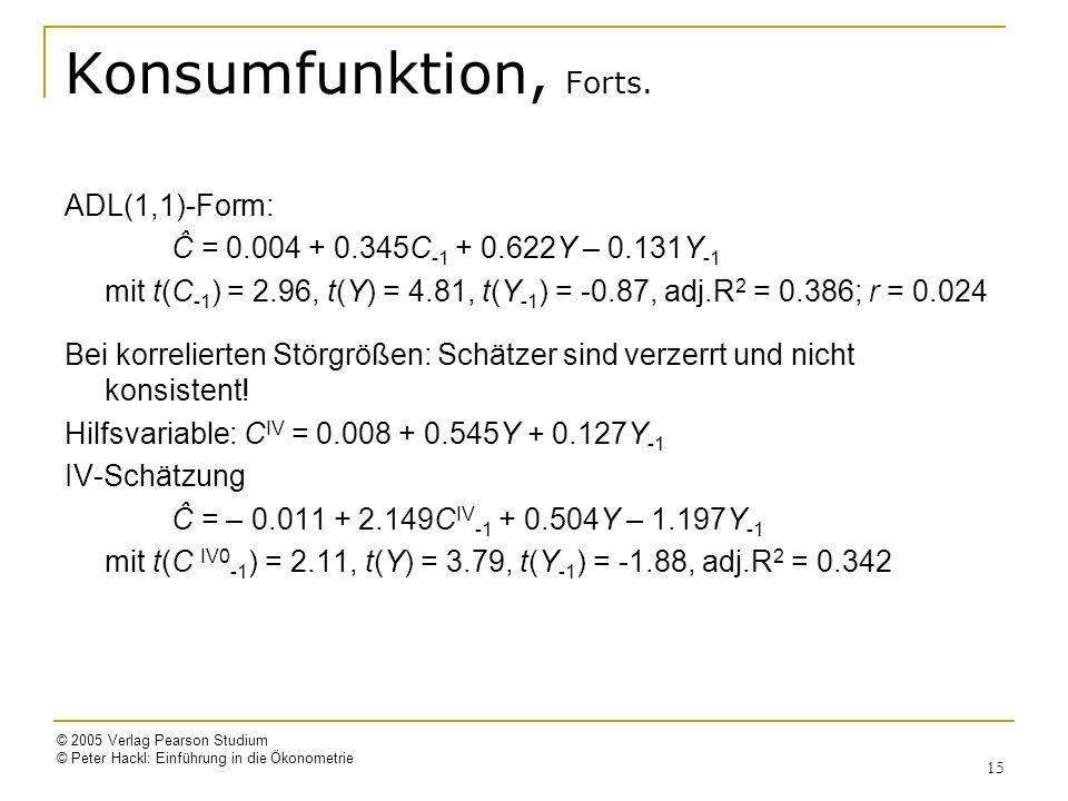© 2005 Verlag Pearson Studium © Peter Hackl: Einführung in die Ökonometrie 15 Konsumfunktion, Forts.