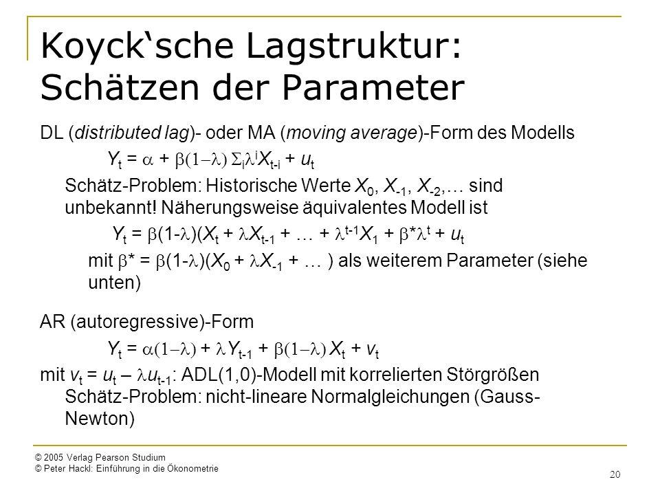 © 2005 Verlag Pearson Studium © Peter Hackl: Einführung in die Ökonometrie 20 Koycksche Lagstruktur: Schätzen der Parameter DL (distributed lag)- oder MA (moving average)-Form des Modells Y t = + i i X t-i + u t Schätz-Problem: Historische Werte X 0, X -1, X -2,… sind unbekannt.
